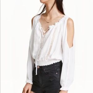 H&M Cold Shoulder White Crochet Cropped Blouse